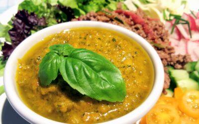 Krämig röra på ugnsrostade grönsaker