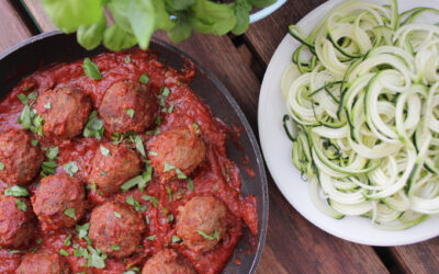 Italieninspirerade köttbullar med tomatsås och zoodles