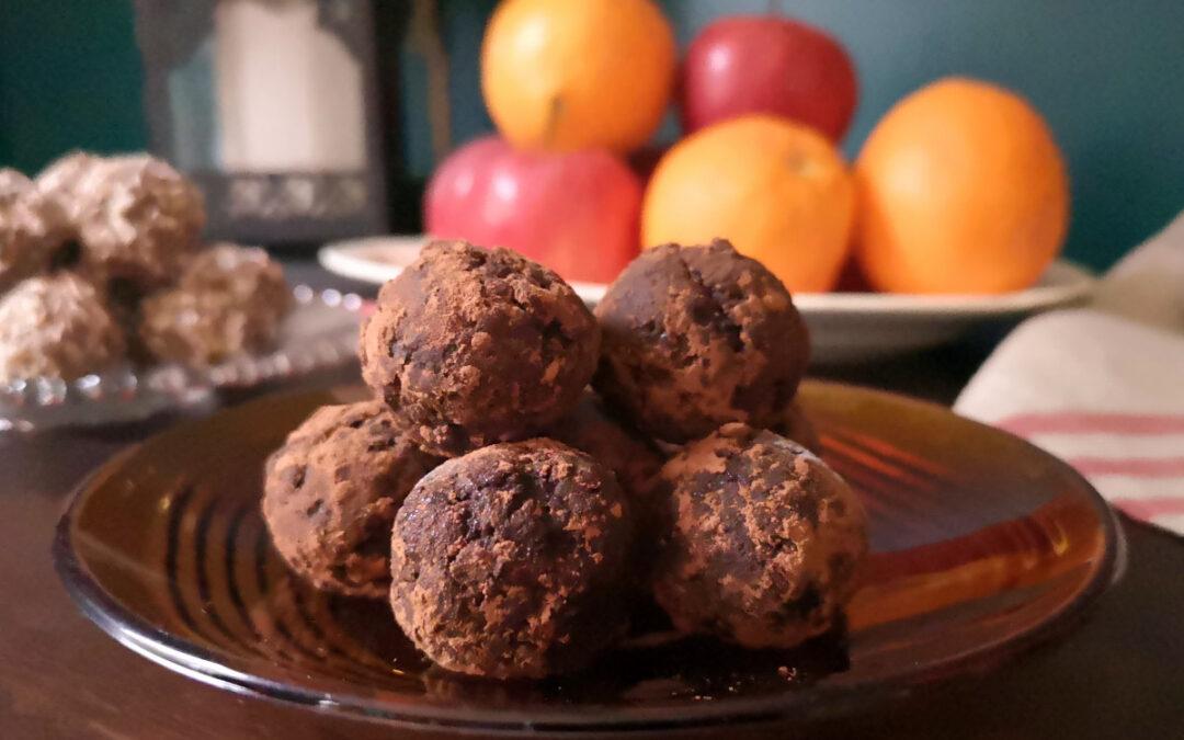 Nötfria chokladbollar med smak av apelsin