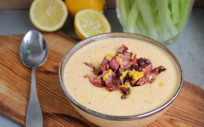 Soppa på jordärtskocka med morot och bacon